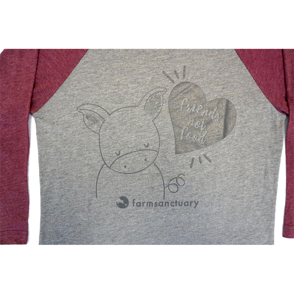 Farm Sanctuary Friends not Food Unisex Raglan Tee - Maroon