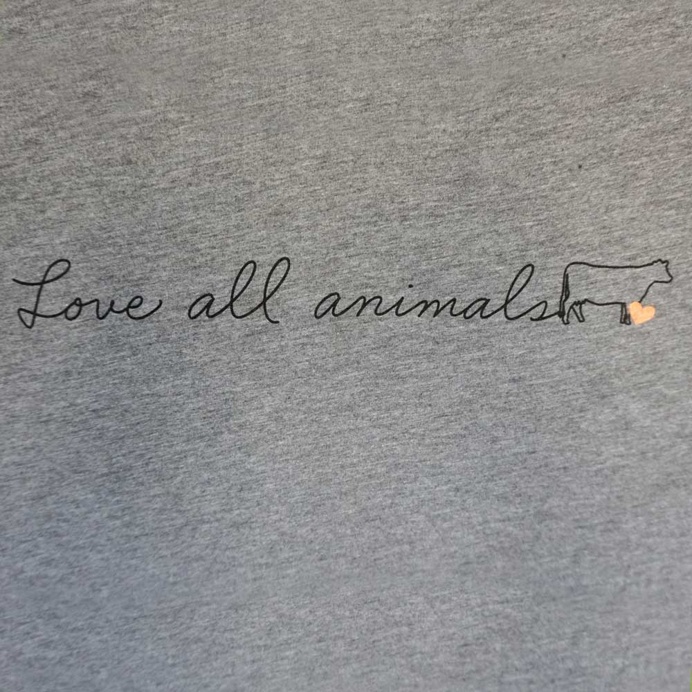 Farm Sanctuary Love All Animals Script Unisex Tee