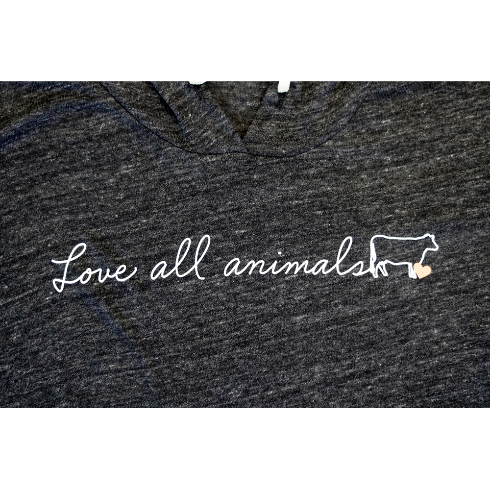 Farm Sanctuary Love All Animals Script Ladies Hoodie