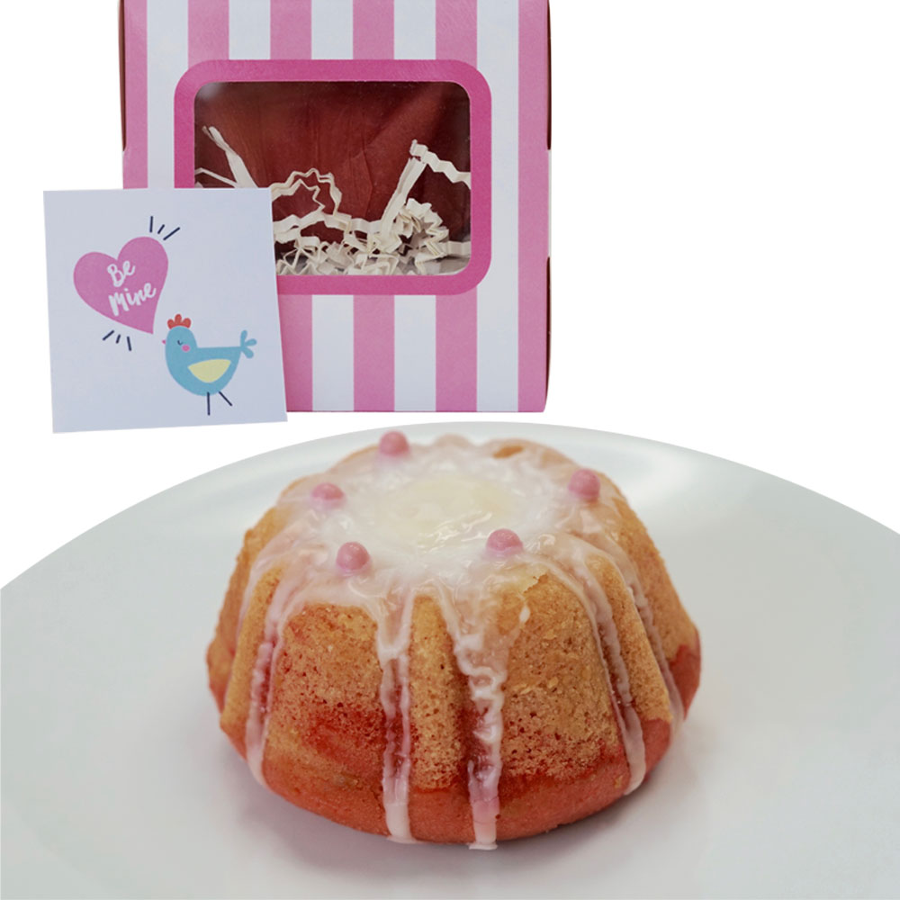 "Farm Sanctuary's ""Be Mine"" Strawberry Mini Bundt Cake by Marge's Bakery"
