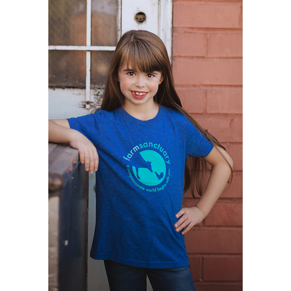 Farm Sanctuary Blue Sanctuary Life Logo Youth Tee