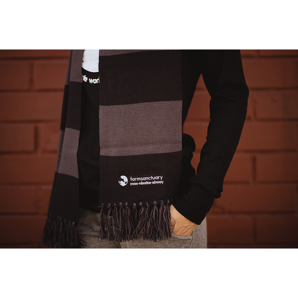 Farm Sanctuary Logo Striped Scarf