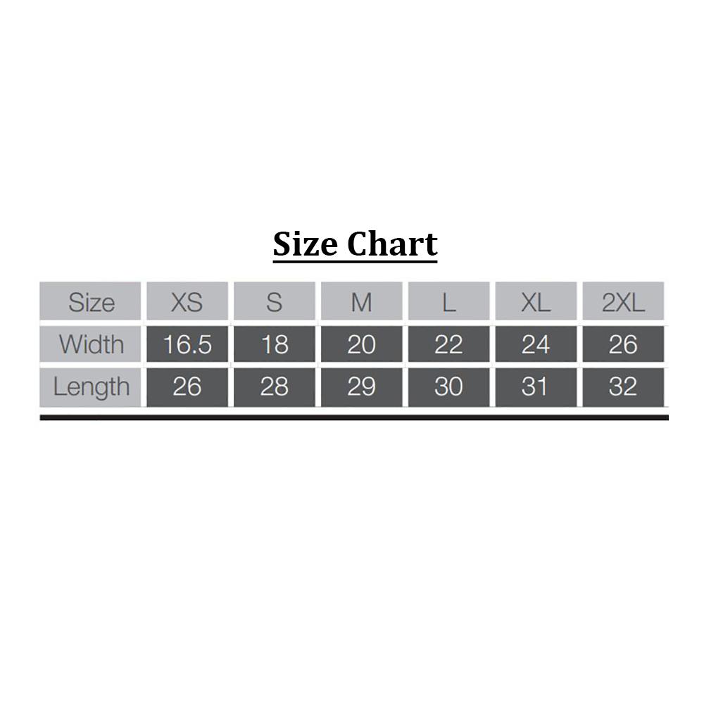 Farm Sanctuary Milton Unisex Tee Size Chart