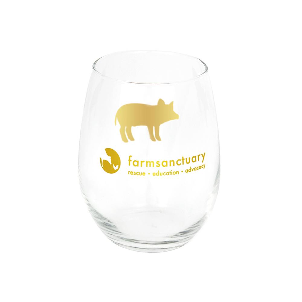 Farm Sanctuary Gold Pig Stemless Wine Glass