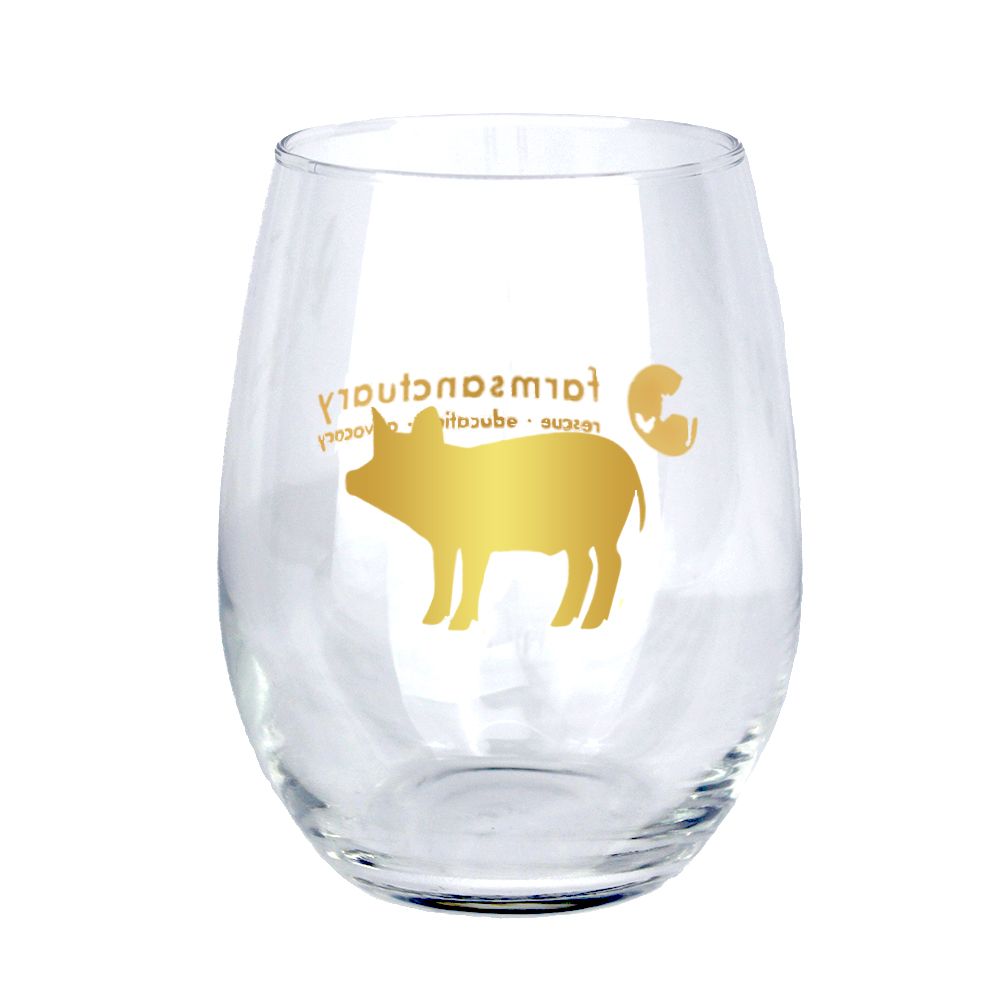 Farm Sanctuary Gold Pig Stemless Wine Glass
