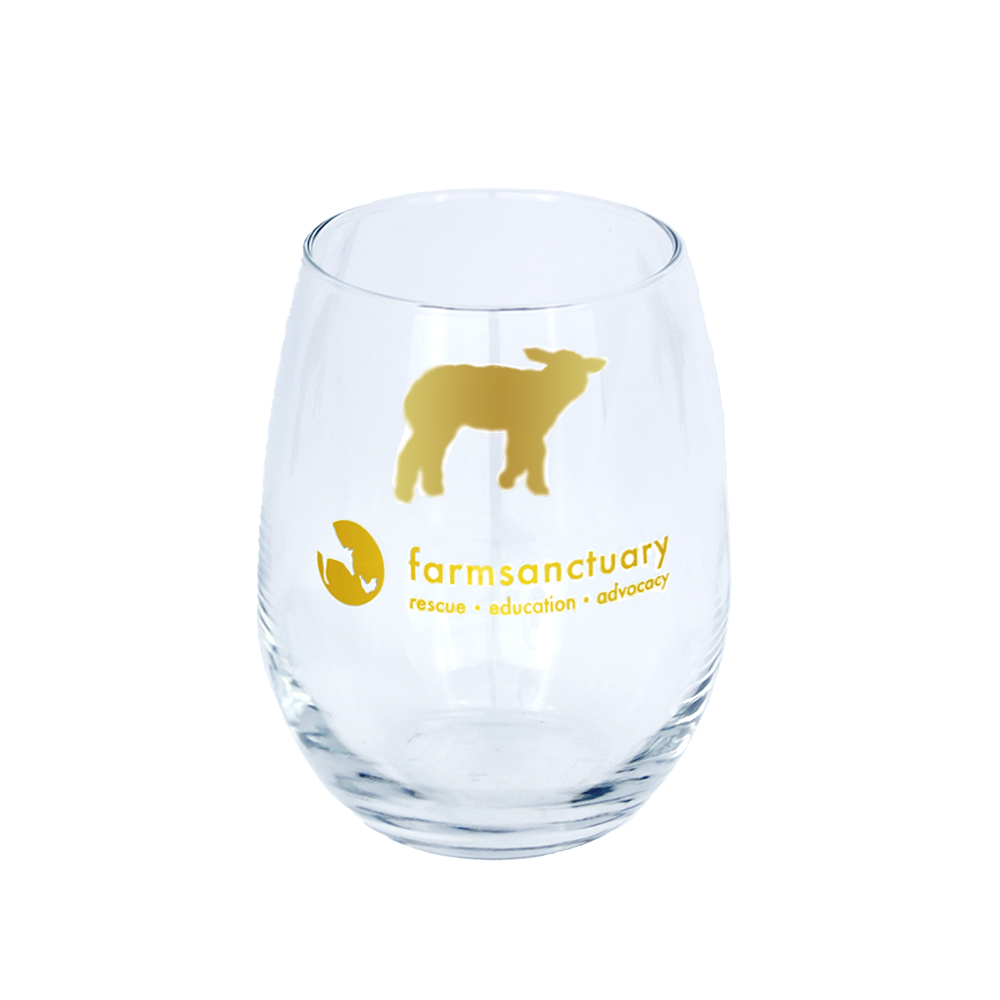 Farm Sanctuary Gold Sheep Stemless Wine Glass