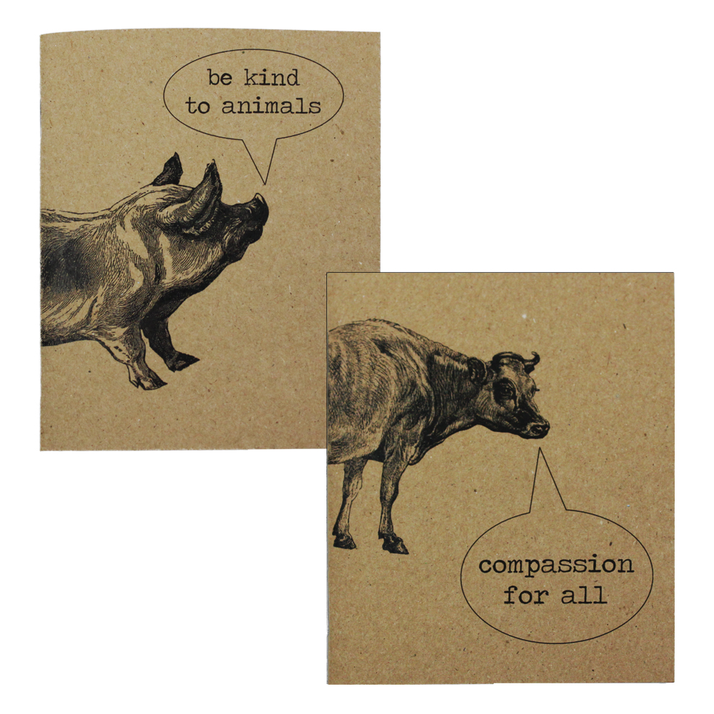 Farm Sanctuary Conversant Cow and Poetic Pig Journal Set