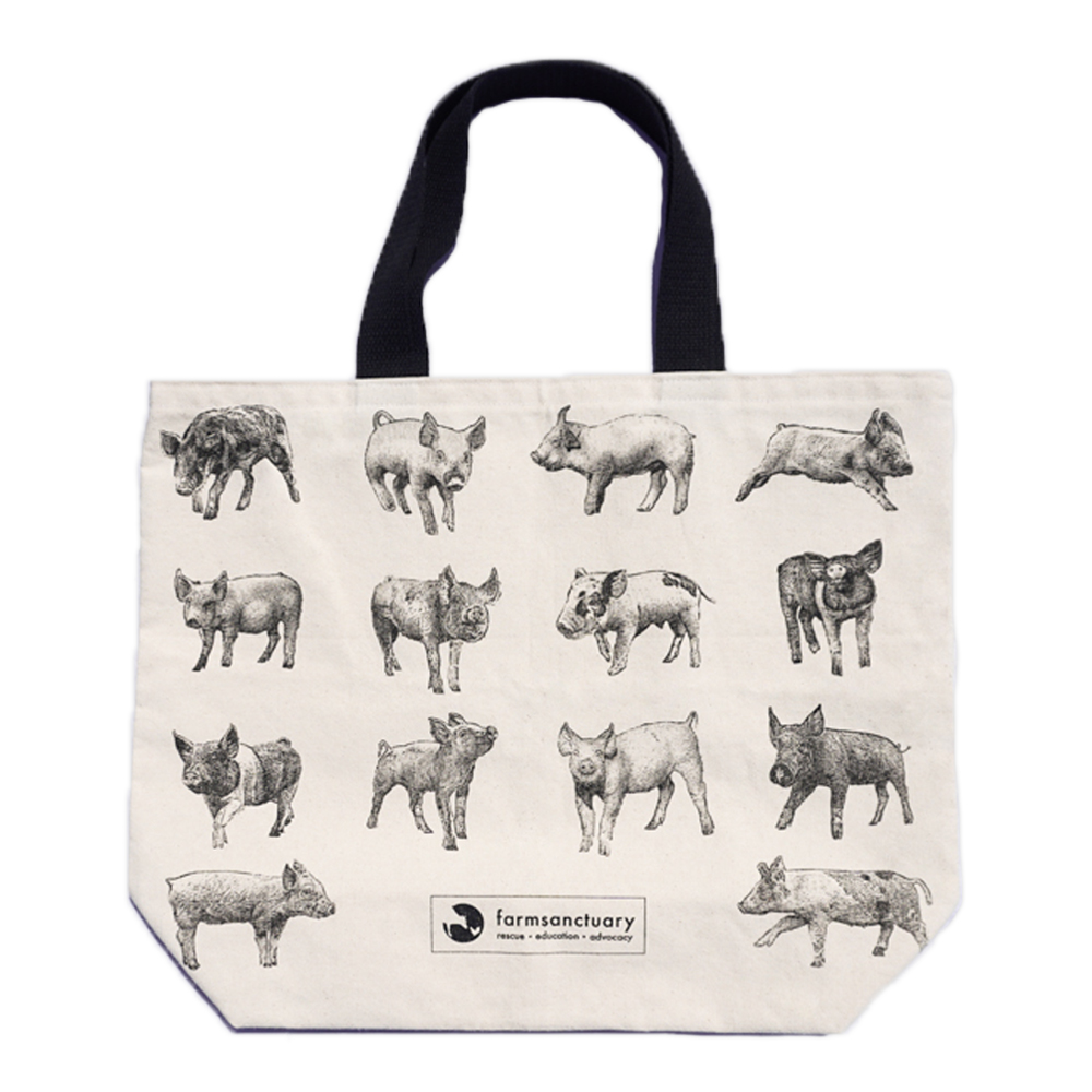 Farm Sanctuary Cute Animal Gift Set - Tote of Pigs