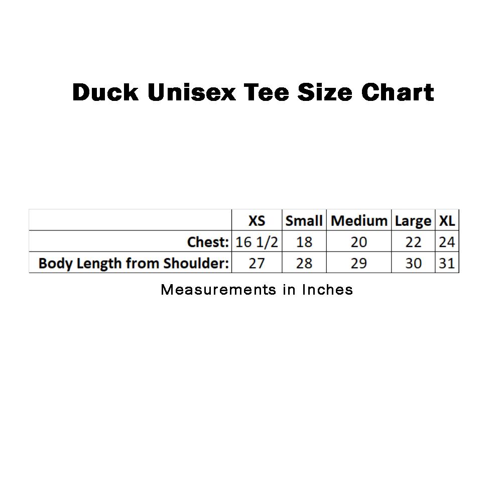 Farm Sanctuary Duck Unisex Tee Size Chart