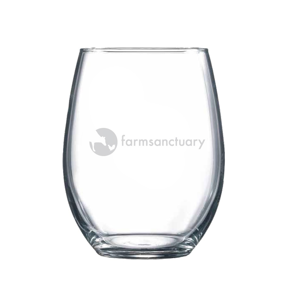 Stemless wine glass with our logo on the back