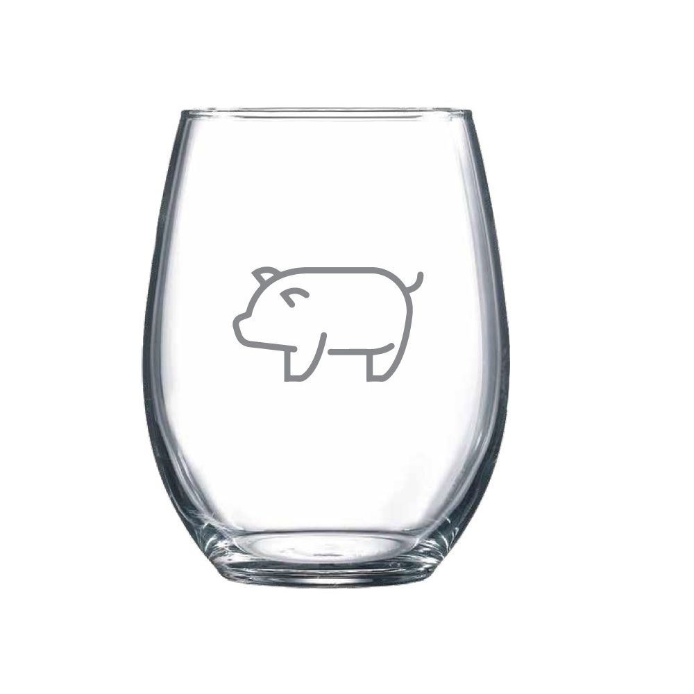 Stemless wine glass with a line drawing of a pig icon