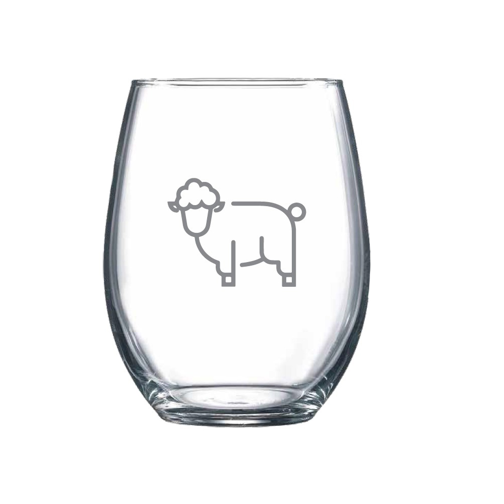 Stemless wine glass with a sheep icon on the front
