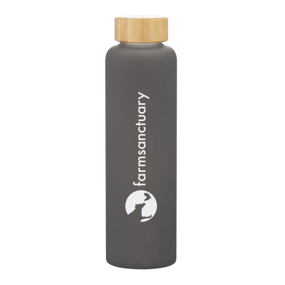 Grey Water Bottle with the Farm Sanctuary Logo and Bamboo Lid