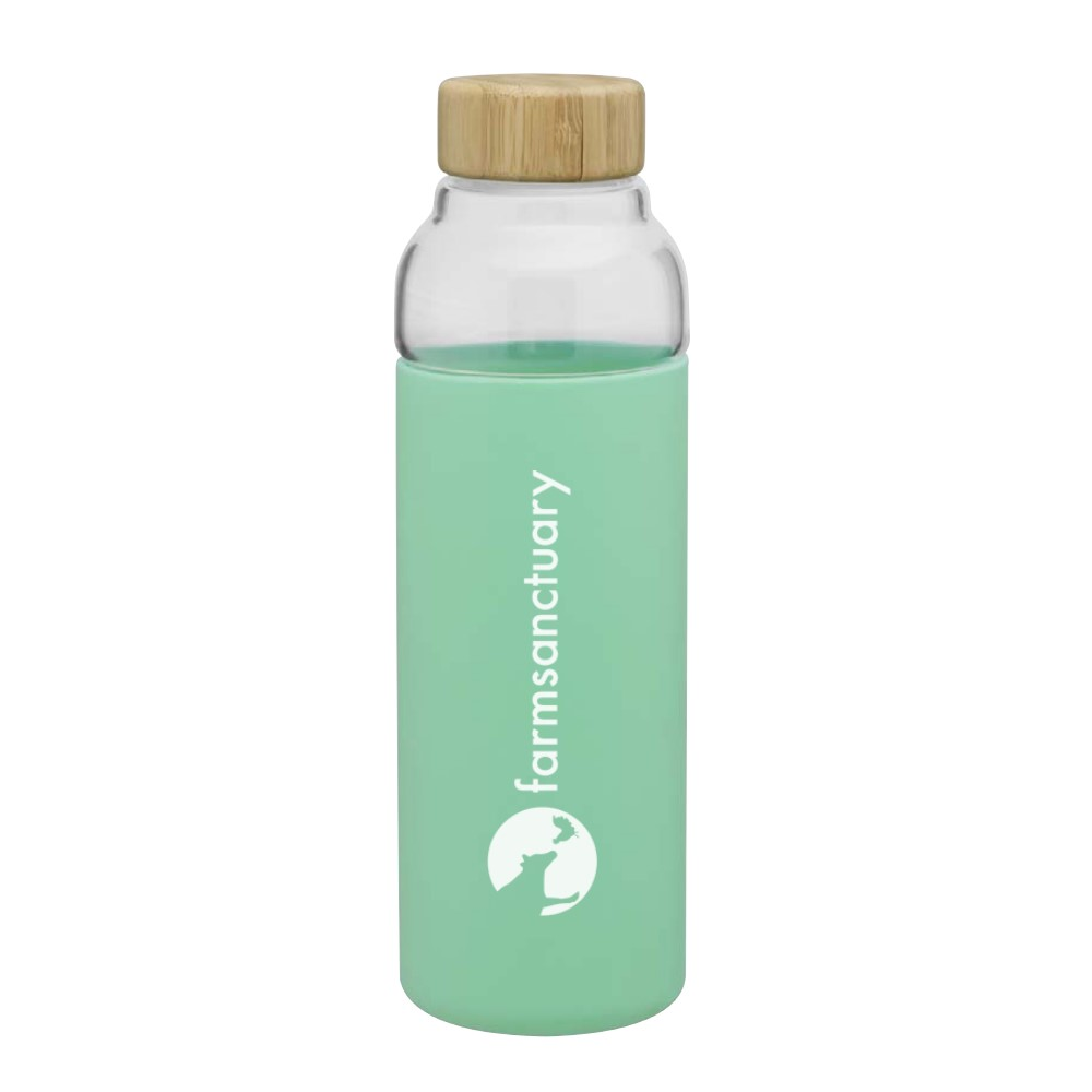 Light green water bottle with the Farm Sanctuary Logo and Bamboo top