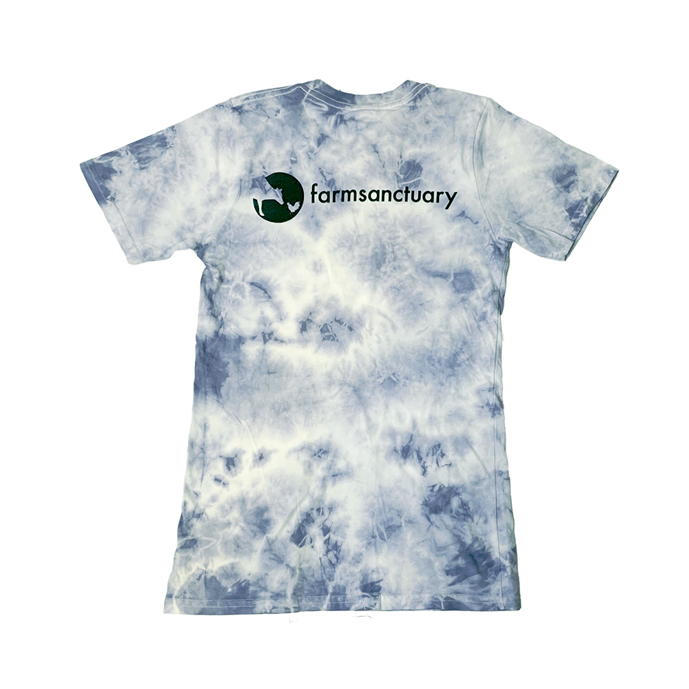 Blue Tie-dye tee with the Farm Sanctuary logo on the back