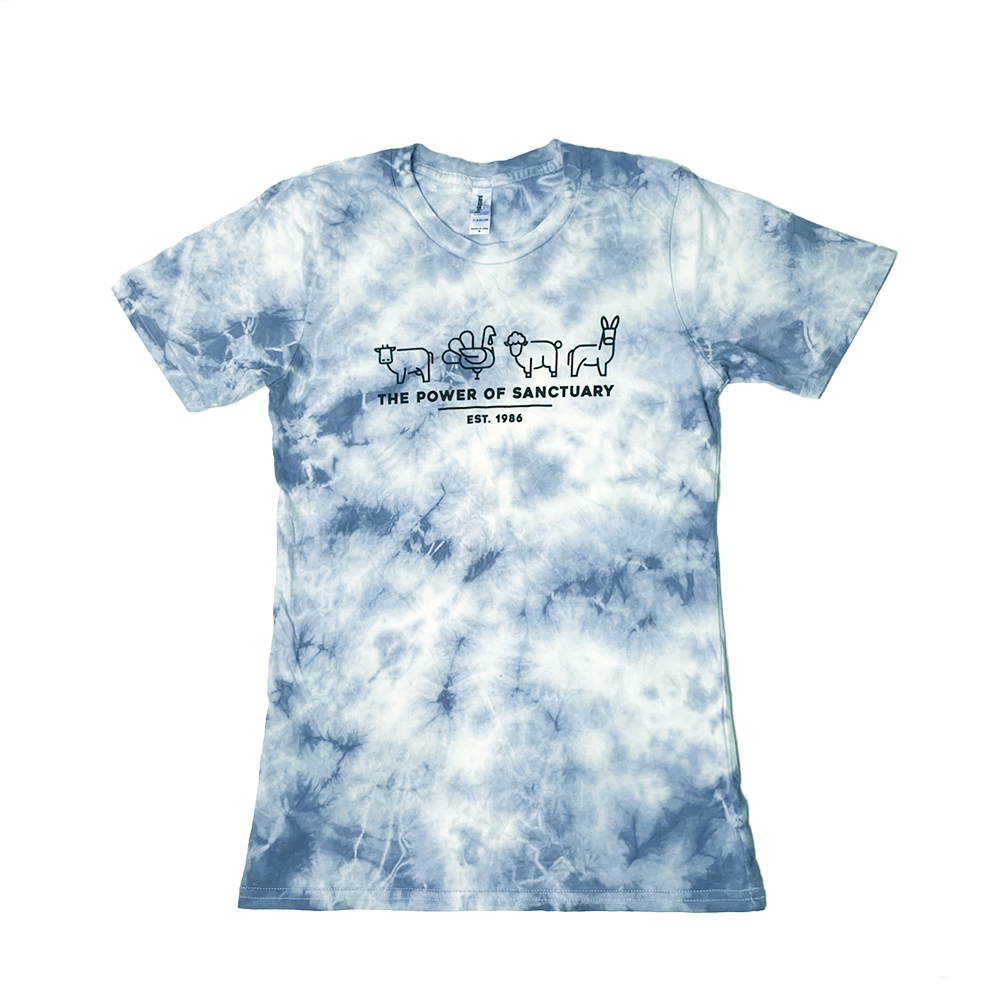 Blue Tie-dye tee with animal icons and says The Power of Sanctuary
