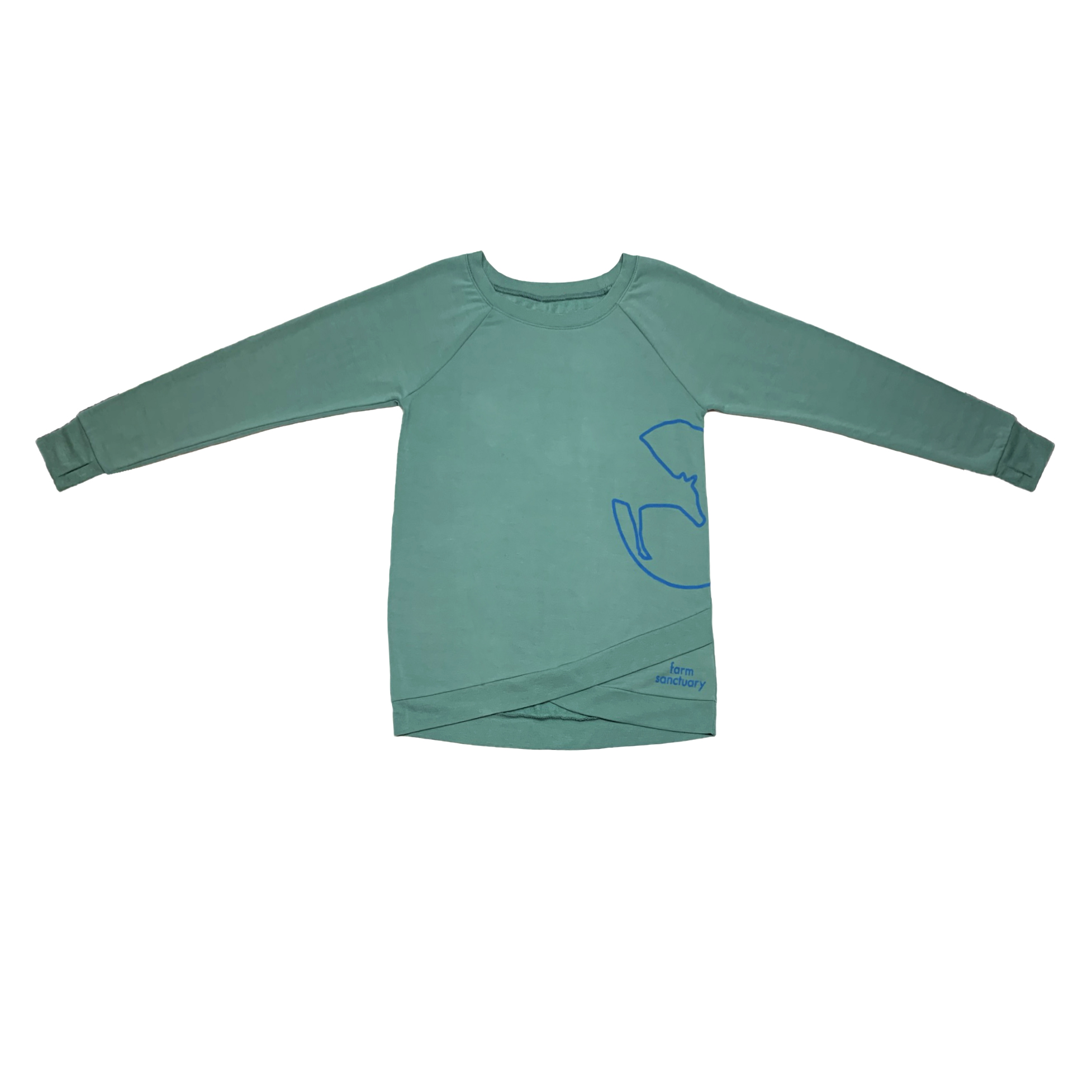 Blue-green long sleeve tunic with a scalloped bottom and the Farm Sanctuary logo on the side