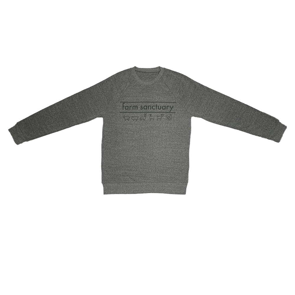 Gray sweatshirt with animal icons across the front below Farm Sanctuary