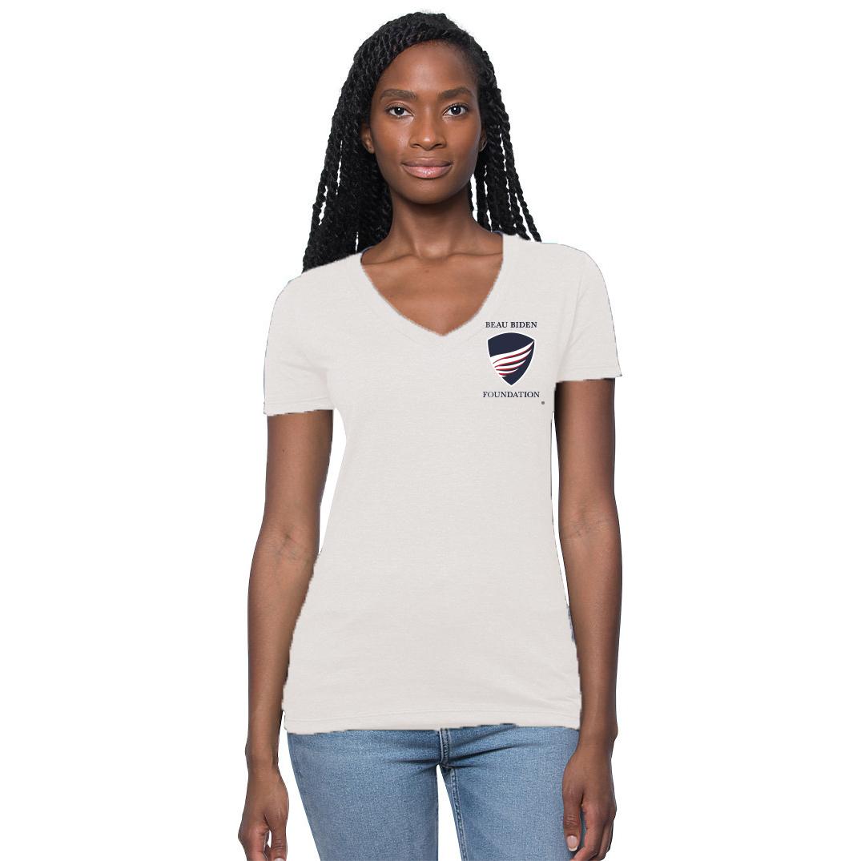 Womens White Logo T-Shirt beau biden, beau biden foundation, beau biden shop, biden usa made shop, biden usa made shirt, biden shop, beau biden shirt, biden shirt, biden womens shirt, biden womens tee, biden be the shield