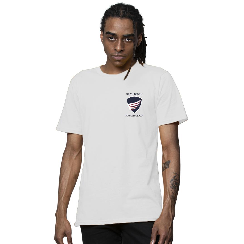 Mens White Logo T-Shirt beau biden, beau biden foundation, beau biden shop, biden usa made shop, biden usa made shirt, biden shop, beau biden shirt, biden shirt, biden mens shirt, biden mens tee, biden be the shield