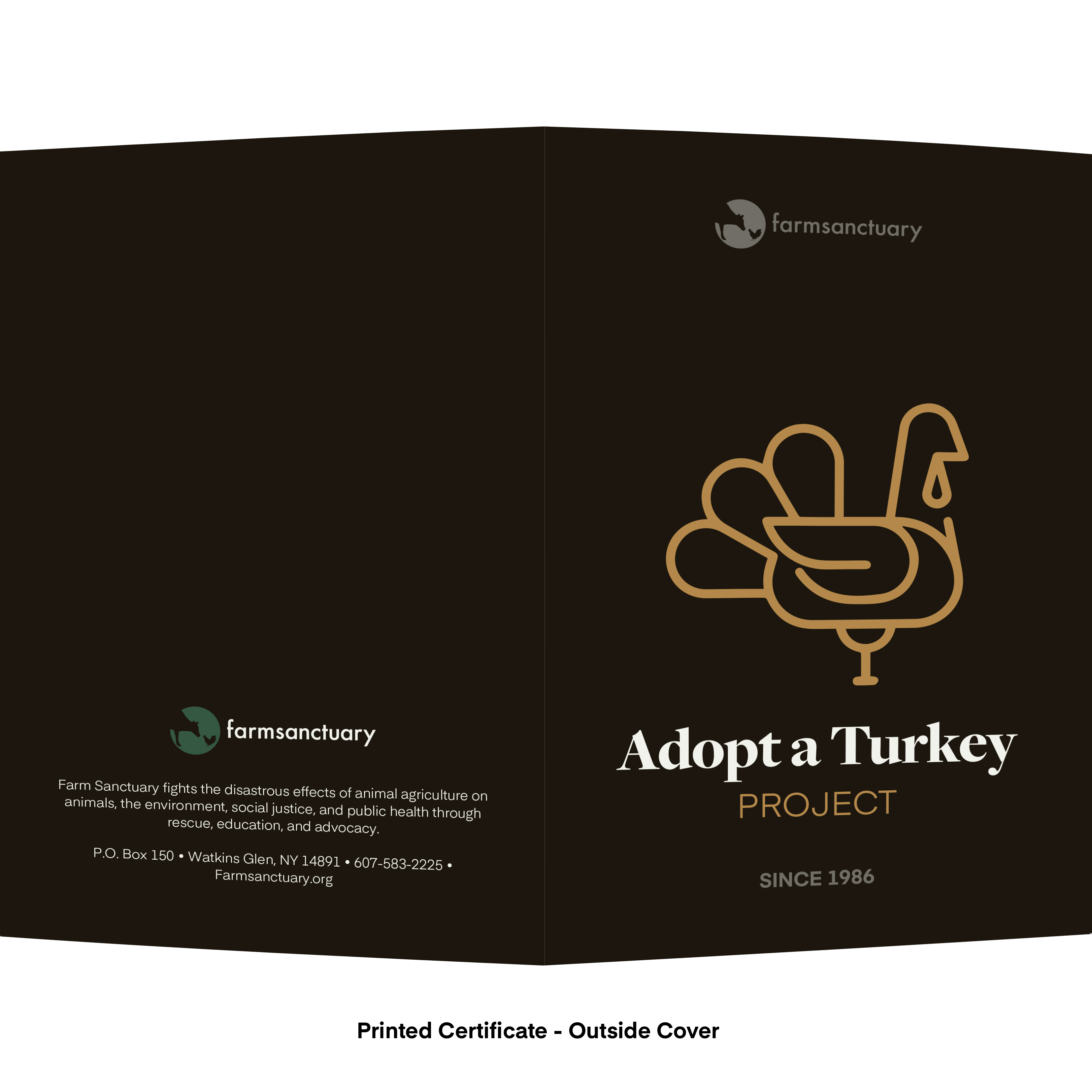 Farm Sanctuary Adopt a Turkey Project Adopt a Turkey Flock Printed Certificate Outside