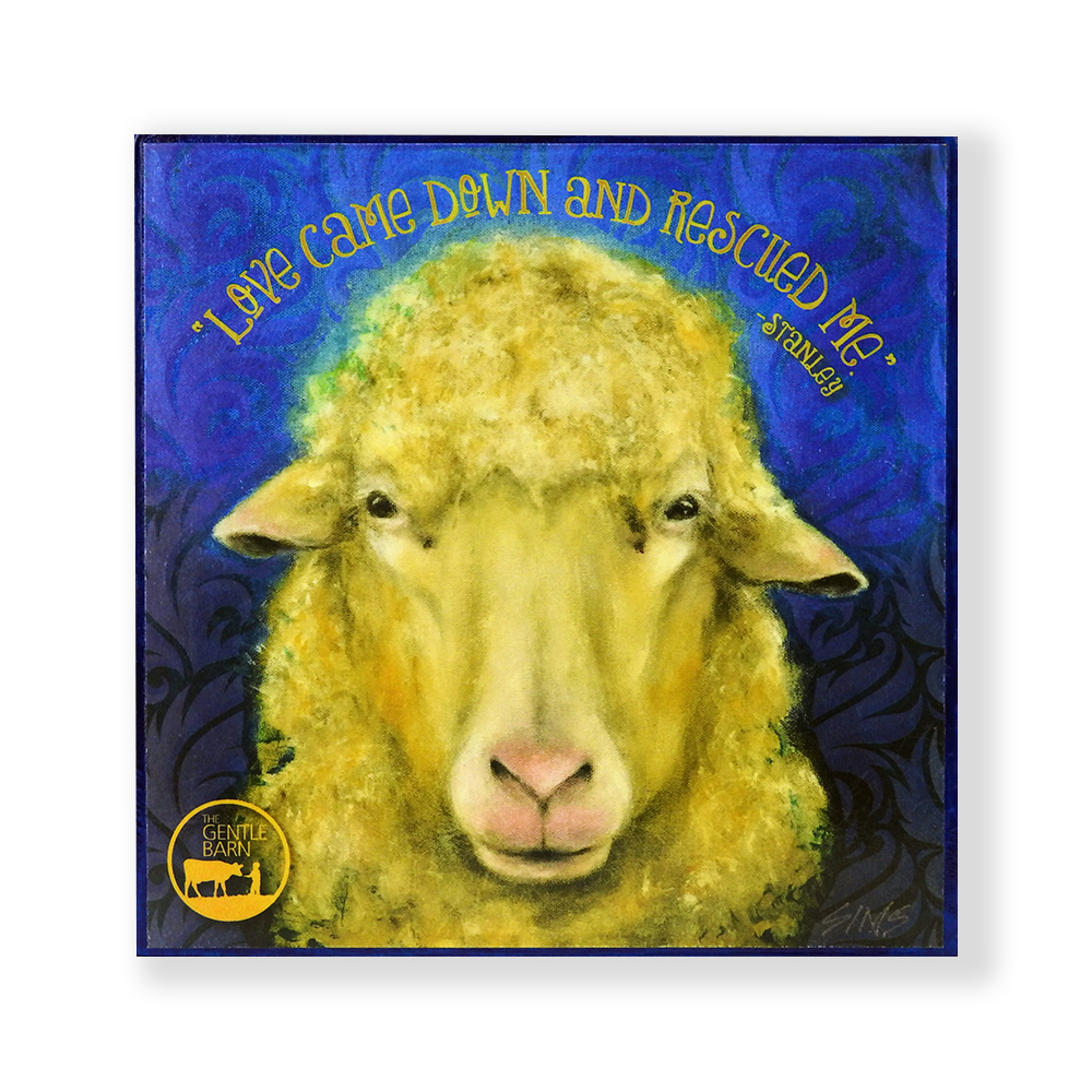 Gentle Barn Art Featuring a Sheep by Jody Sims Compassionate Art Prints - California