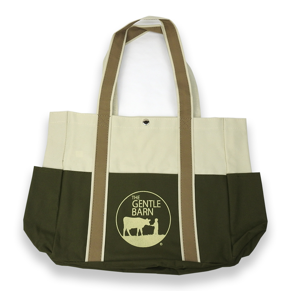 Canvas Gentle Barn Tote Bag in Green and Off-white