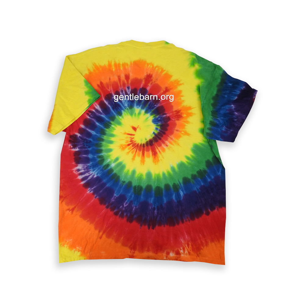 Colorful Gentle Barn Tie Dye Logo T-Shirt with the url on the back in white
