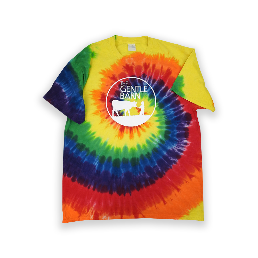 Colorful Gentle Barn Tie Dye Logo T-Shirt with the logo on the front in white