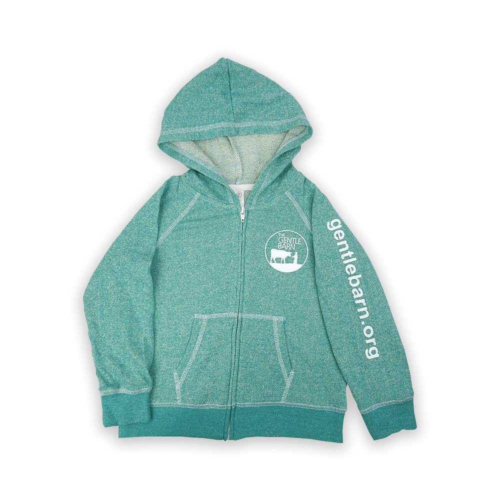 Green Youth Zip Up Hoodie with the Gentle Barn logo on the front and our url on the sleeve in white