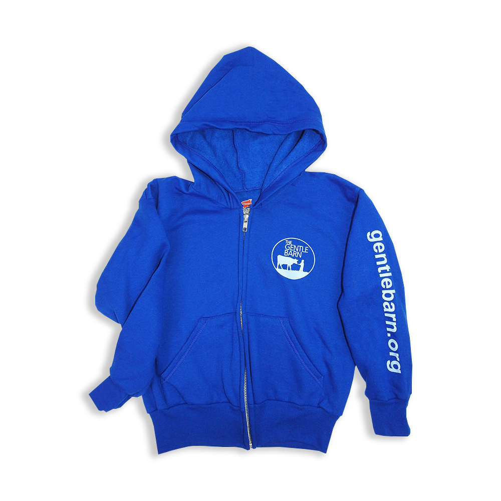 Blue Youth Zip Up Hoodie with the Gentle Barn logo on the front and our url on the sleeve
