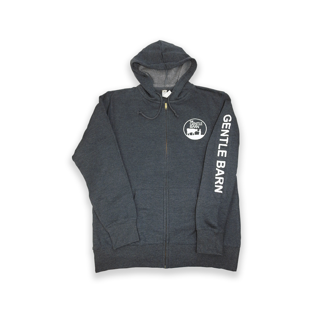 Organic Recycled Heathered Zip Up Hoodie with the Gentle Barn logo on the front and our url on the sleeve