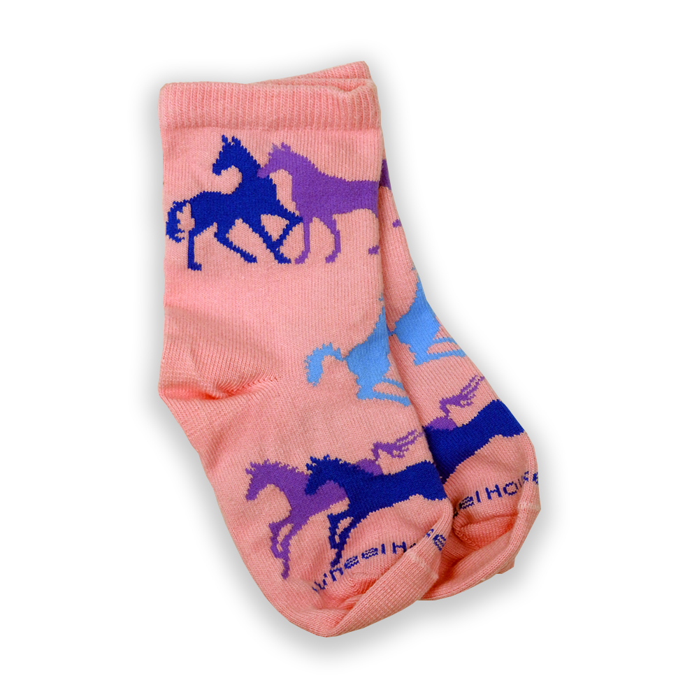 Pink Youth Socks with Blue and Purple Horses from The Gentle Barn