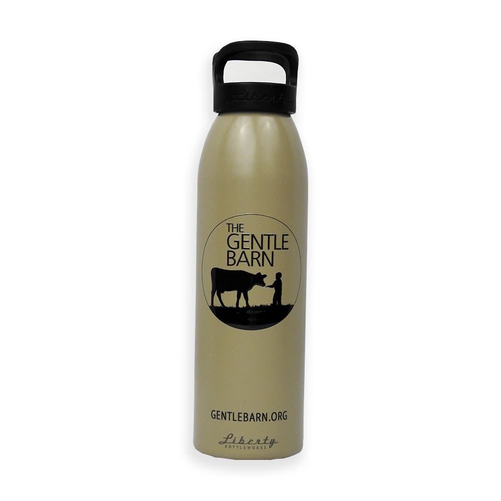 The Gentle Barn Metal Water Bottle in Gold with Black Text