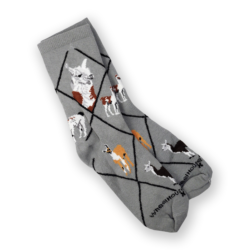 Gray Adult Socks with Llama Design