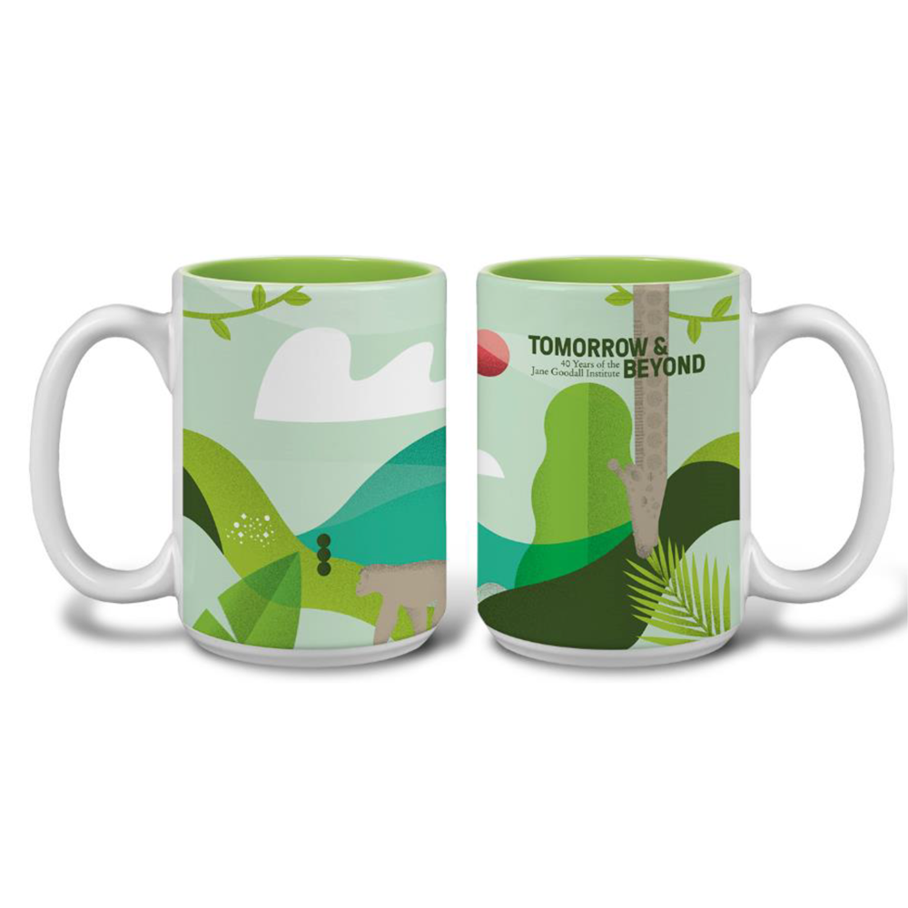 Tomorrow & Beyond 40th Anniversary Mug  jane goodall, jane goodall mug, jane goodall 40th anniversary, jane goodall 40th anniversary mug