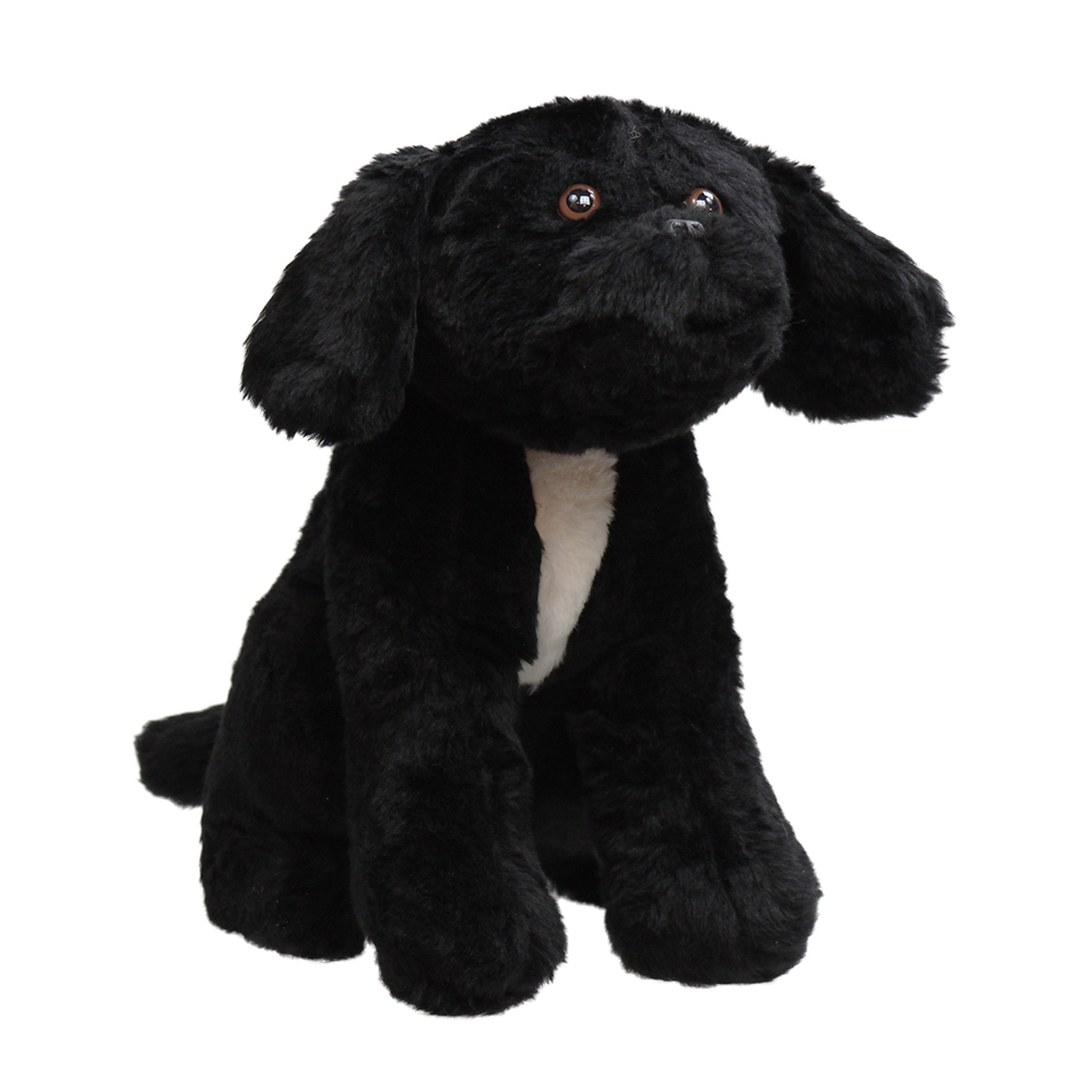 """Jane Goodall """"Rusty"""" Plush Toy, black dog with white chest."""