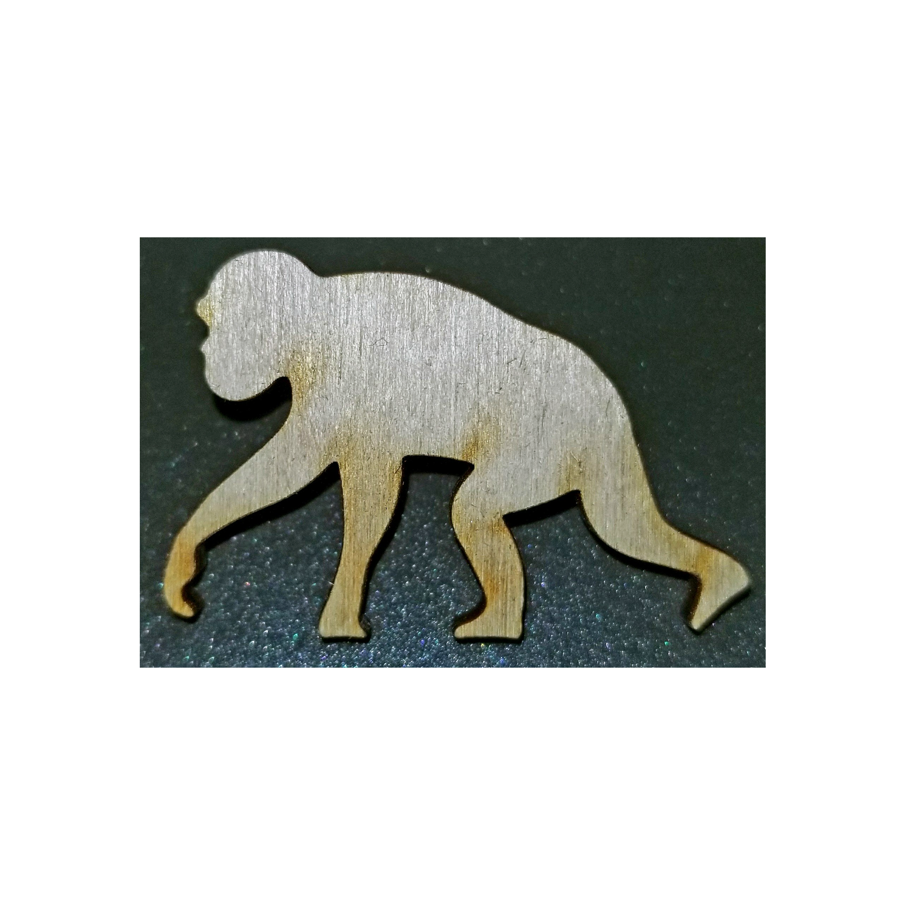 Wooden Chimp Lapel Pin