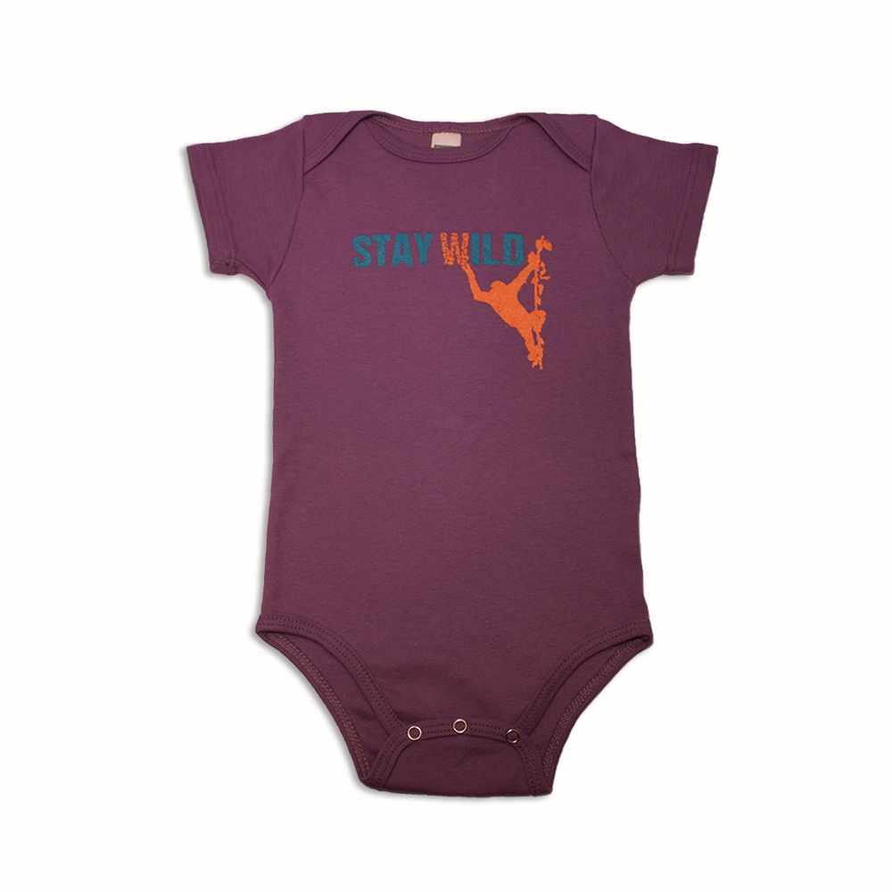 Jane Goodall Infant Stay Wild Onesie -  Eggplant