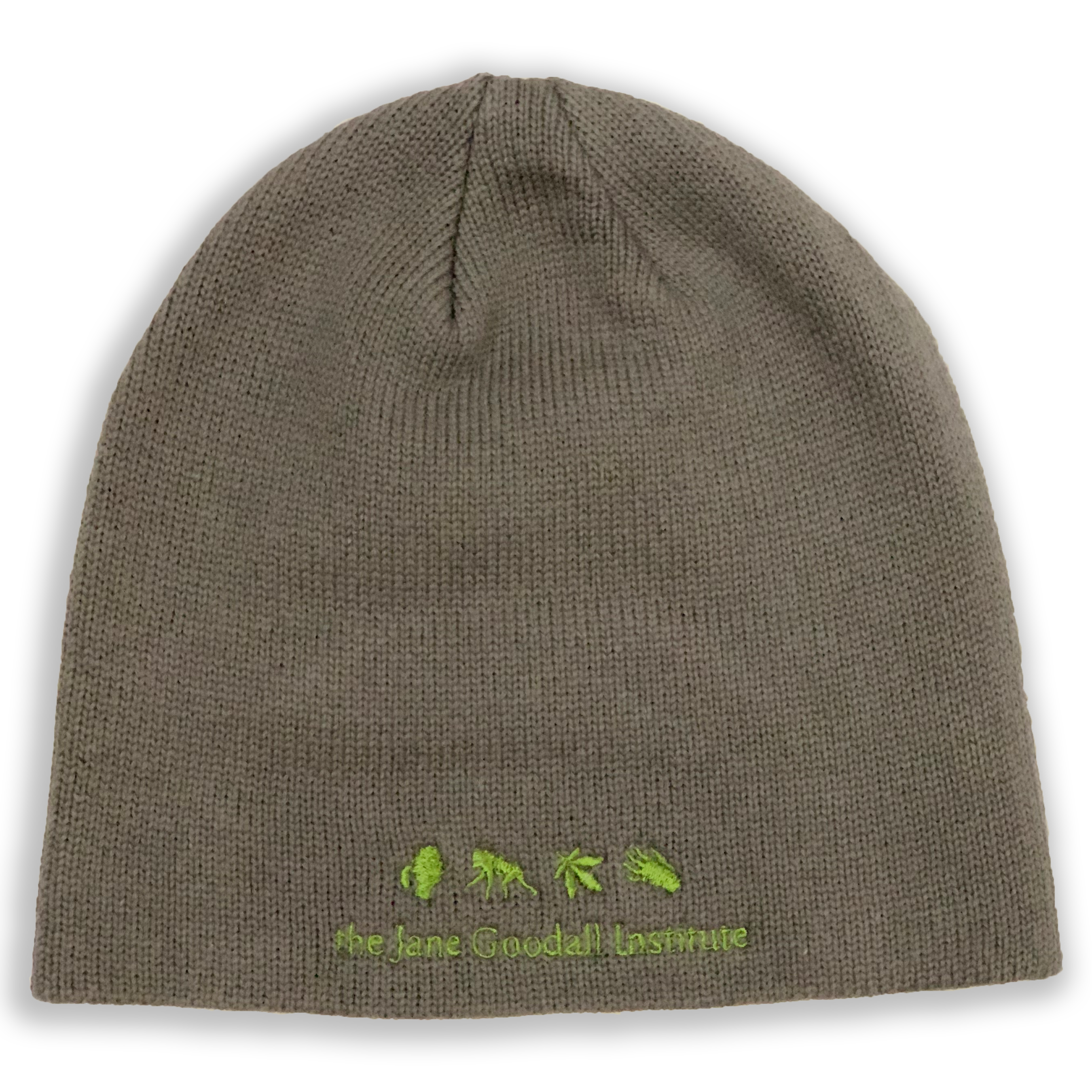 """Brown beanie reads """"the Jane Goodall Institute."""" Four small symbols above text, silhouette of Jane, ape, leaf, and primate hand."""