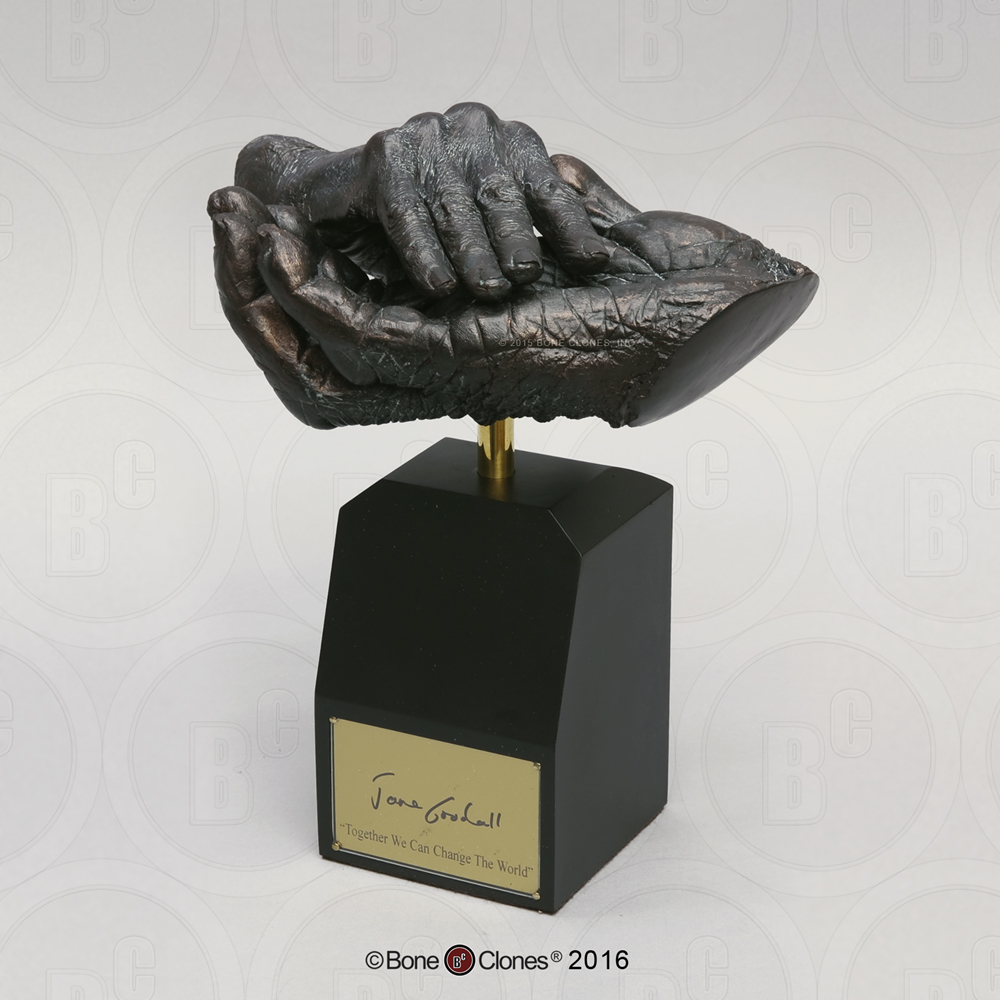 "Jane Goodall and Chimpanzee ""Hand-in-Hand"" Life Cast on Base - Limited Edition"