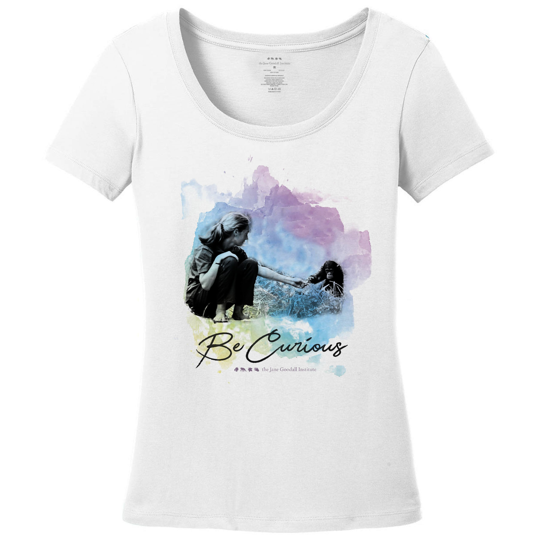 Jane Goodall Be Curious Fitted Scoop Neck T-Shirt