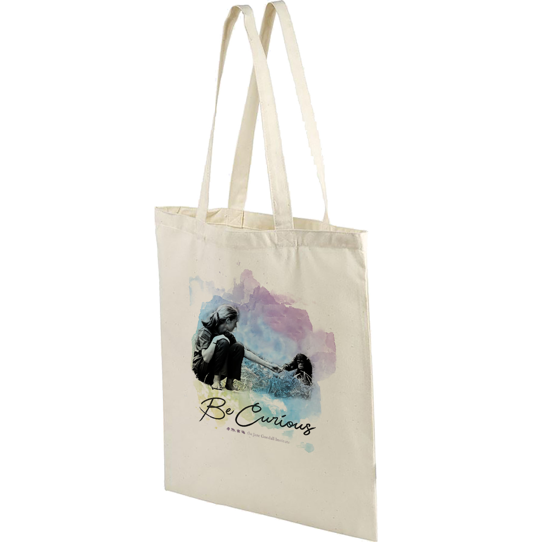Jane Goodall Be Curious - Natural Canvas Tote