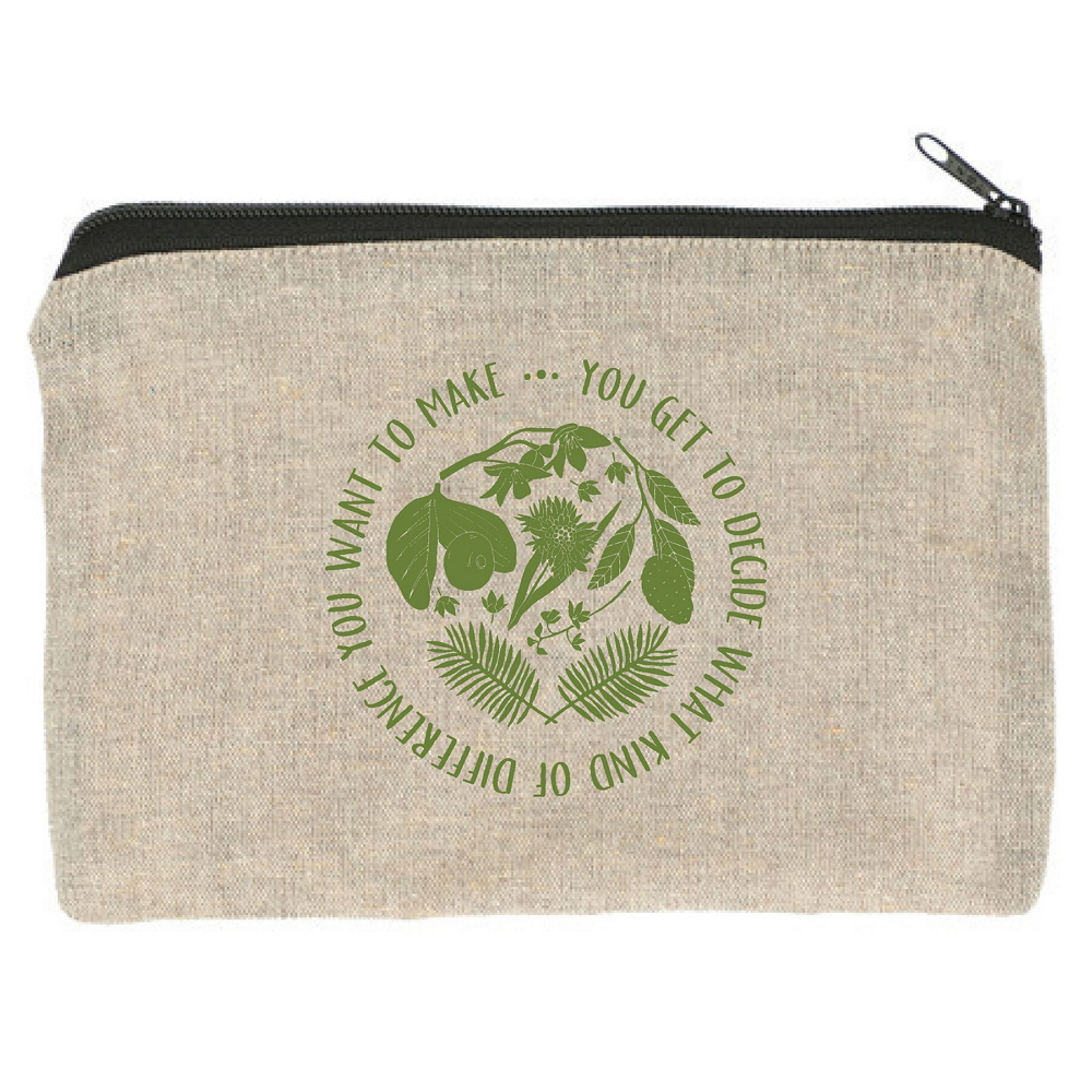 Make A Difference Quote Recycled Zipper Pouch