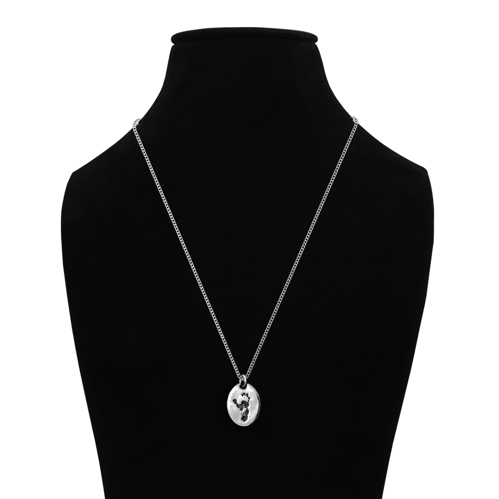 Jane Goodall Signature Sterling Silver Chain Wounda Footprint Necklace & Apathy Quote Pin Set - JGI266