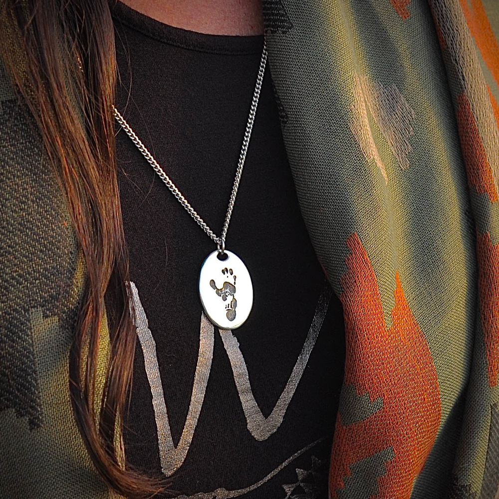Jane Goodall Signature Wounda Footprint Necklace on Sterling Silver Chain & Apathy Quote Pin Set