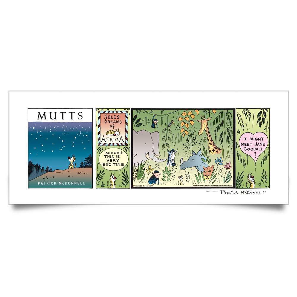 MUTTS Print: Jules Dreams of Africa (Signed)