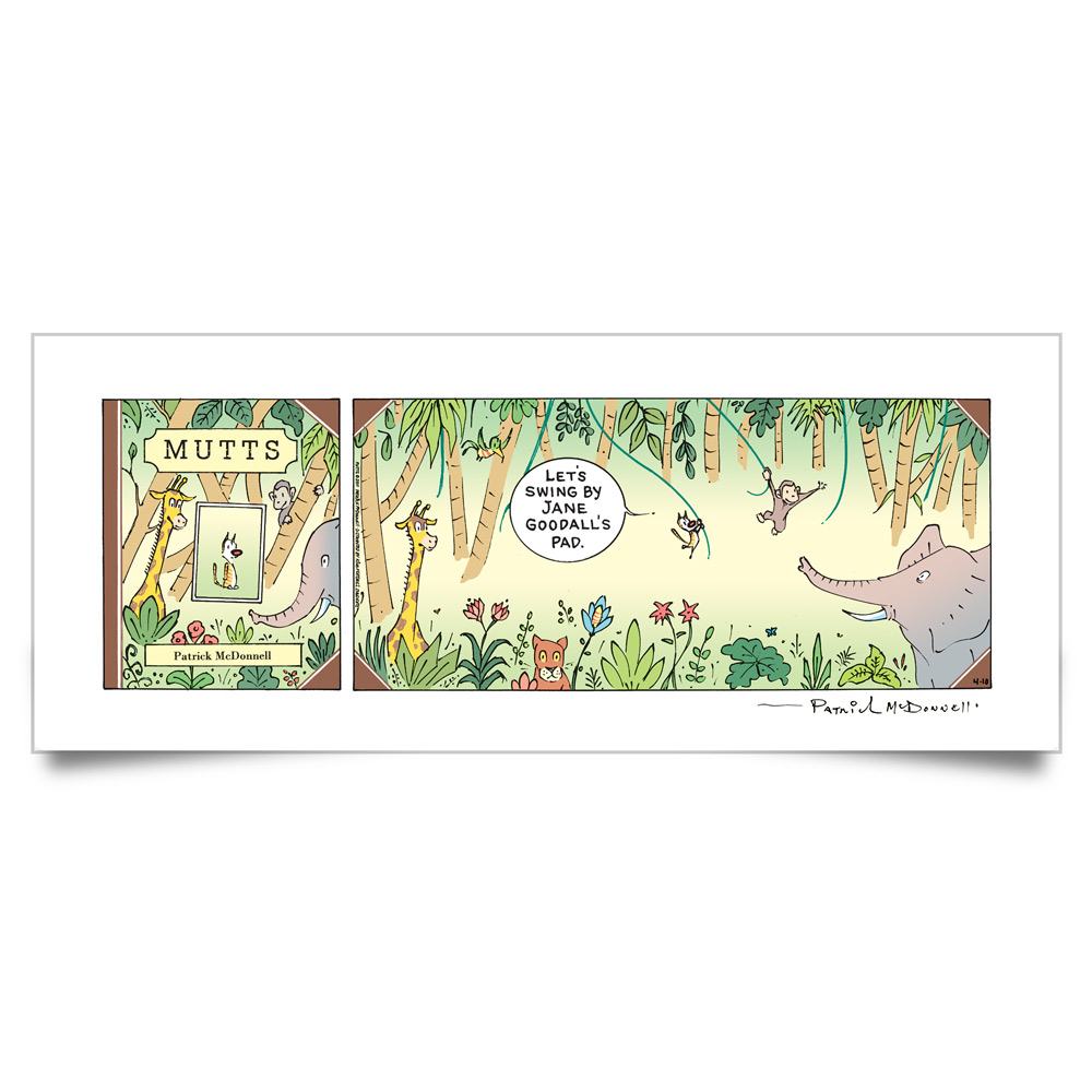 MUTTS Print: Swinging in Gombe (Signed)