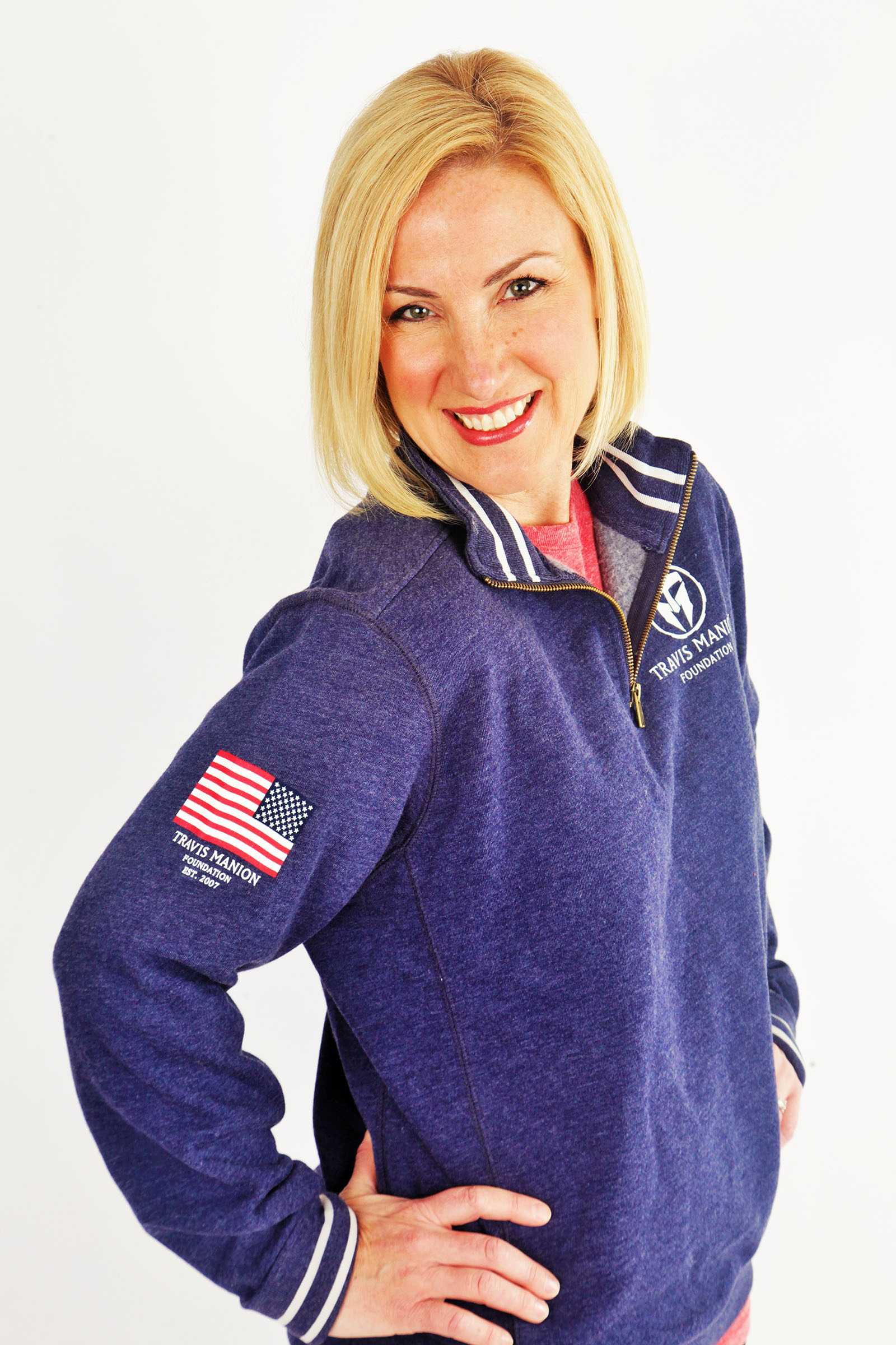 TMF Triblend Collegiate 1/4 Zip Flag