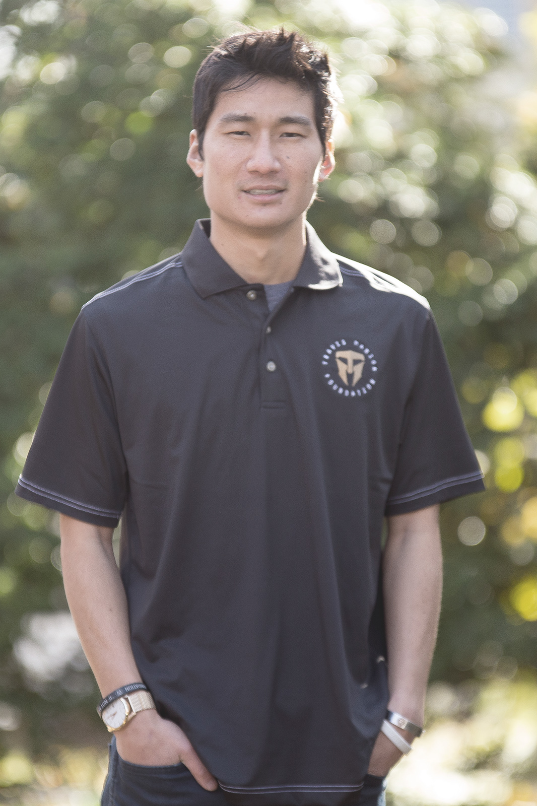 Mens Black TMF Logo Polo